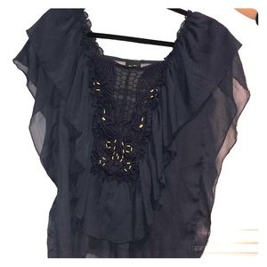Rue 21 Navy and Gold shirt
